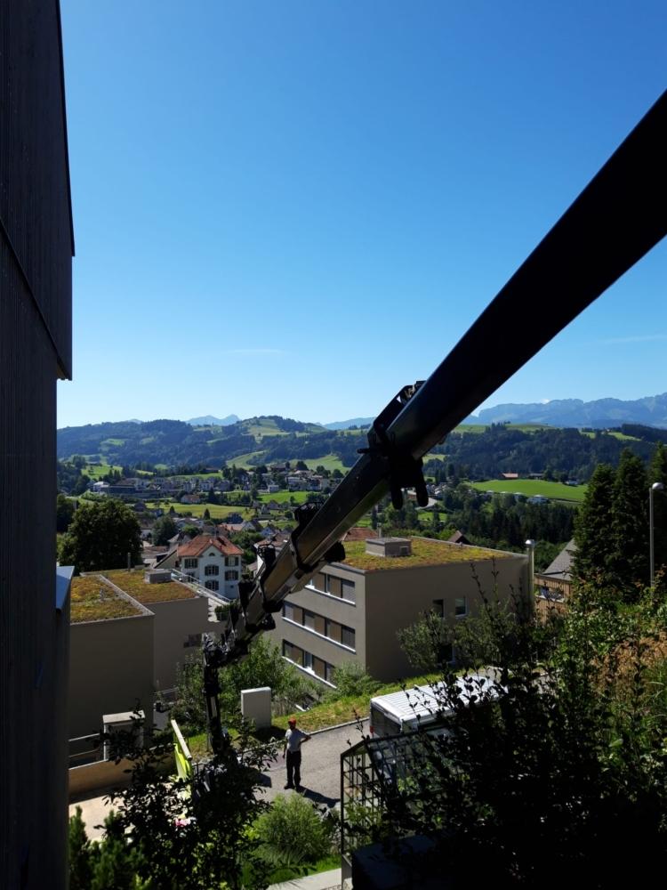 kran lasten in die höhe heben terrasse oder aus büro
